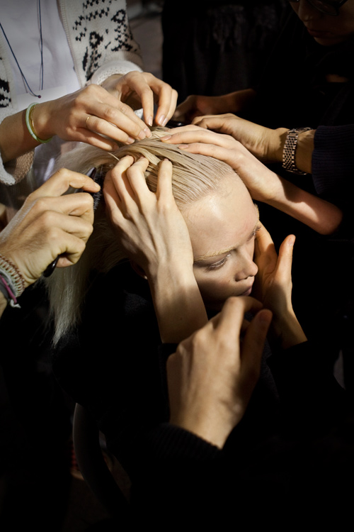 cacharel, backstage, james bort, hair