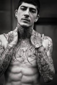 Tattoos at Jean Paul Gaultier, james bort