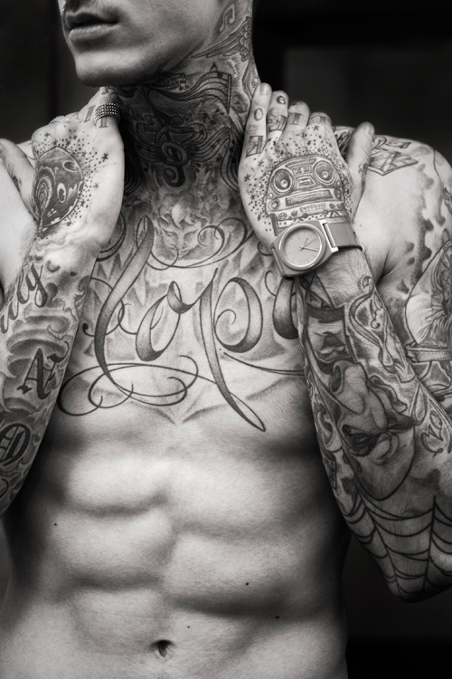 Tattoos at Jean Paul Gaultier, james bort